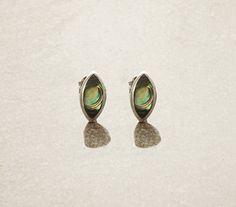 Abalone Stud Earrings, Sterling Silver Earrings, Genuine Paua Shell, Almond Shape, Minimalist Earrings, Blue Green Earrings, Dainty Earrings
