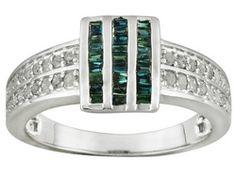 .50ctw Baguette Blue Velvet Diamond(Tm) And Round White Diamond Rhodium Over Sterling Silver Ring