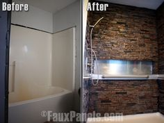 Bring your bathroom makeover ideas to life with fake stone panels for the shower.