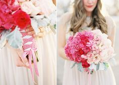 Pink wedding theme. Pink to white ombre bouquet by Laurel Lane. Photography Sara Hasstedt.