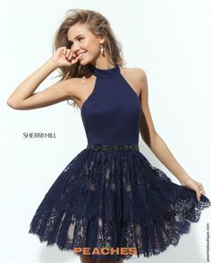 Sherri Hill Short Halter Top A Line Dress 50634