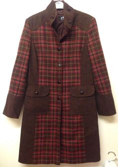 PER UNA BROWN PURE WOOL CHECKED WINTER COAT SIZE 14 - VGC! #PerUna #OtherJackets #Casual