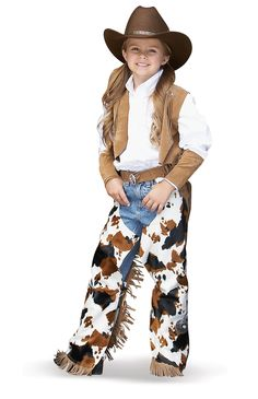 Cowgirl Costume -Chaps, hats, spurs, horses and a little dust makes a cowboy crazy! Cowgirl Girls Costume includes a tan faux suede vest with fringe, white cow. Traje Cowgirl, Cowboy And Cowgirl, Cowboy Party, Rodeo Party, Cowboy Theme, Western Theme, Western Wear, Kids Dress Up Costumes, Diy Girls Costumes