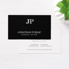 Creative Monogram Modern Elegant Chic Black White Business Card - lawyer business diy personalize custom