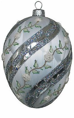 Edward Bar WINTER ROSE EGG glass Christmas ornament, handmade in Poland