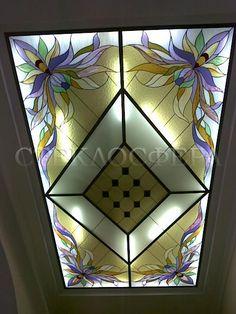 Витражные потолки, витражи на потолок (потолочные витражи). Потолочный витраж «Орхидеи»