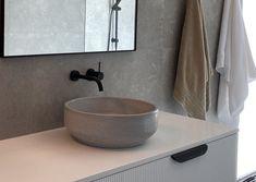 Concrete Basins and Benchtops | DLH Designs – DLH Designs Gippsland Concrete Basin, Basins, Hearth, Bathroom Ideas, Vanity, Future, Interior Design, Pattern, Home Decor