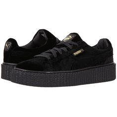 PUMA Creeper Velvet (Puma Black/Puma Black) Women's Shoes ($120) ❤ liked on Polyvore featuring shoes, sneakers, dark, breathable shoes, black velvet shoes, black creeper shoes, black shoes and platform lace up shoes
