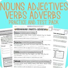 This grammar worksheet covers the basics for nouns, verbs, adverbs and adjectives.   Also included is an assessment/test that is aligned with the worksheet.  The worksheet starts with a simple explanation of the part of speech accompanied with guided practice. After that the students are moved onto independent practice.  Colorized answer key to top it all off!