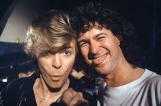 David Bowie with tour photographer Denis O'Regan, 1987.