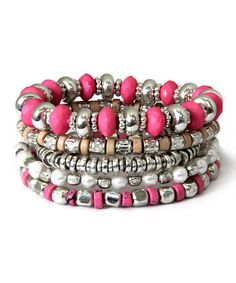 Love this Pink & Silvertone Bead Stretch Bracelet Set by MOA Collection on Stretch Bracelets, Beaded Bracelets, Bracelet Set, Color Pop, Stretches, Jewelery, Beads, My Style, Pink