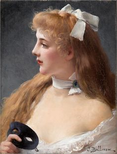 JULES FREDERIC BALLAVOINE (1855-1901)- YOUNG WOMAN HOLDING MASK