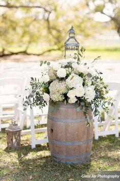 Glass Jar Photography, aisle flowers, wine barrel