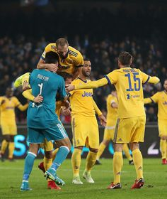 Gianluigi Buffon and Giorgio Chiellini players of Juventus celebrate the victory after the Serie A match between SSC Napoli and Juventus at Stadio San Paolo on December 1, 2017 in Naples, Italy.