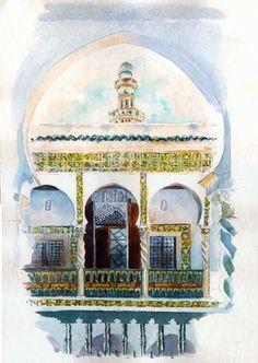 Alger - Dar Aziza et minarets de la Ketchaoua - Peinture ©2008 par Catherine Rossi -