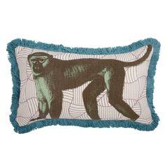 Thomas Paul // Menagerie Monkey Fringed Throw Pillow