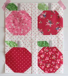Quilty Fun Sew Along Apples by PamKittyMorning, via Flickr