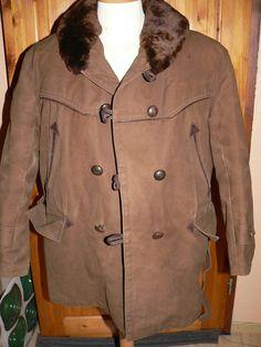 Vintage 1950s french  Mackinaw style jacket Sheepskin lining Shearling  EU 50/52