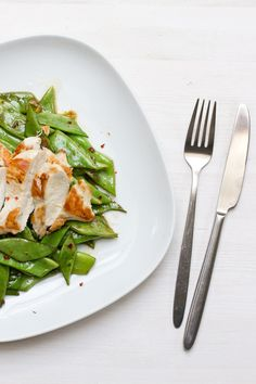 Quick (home) office lunch: roasted chicken with asian broad beans Lunch Recipes, Healthy Recipes, Roasted Chicken Breast, Deli, Green Beans, Home Office, Asian, Vegetables, Food