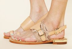Sam Edelman snakeskin sandal with gold-plated heel