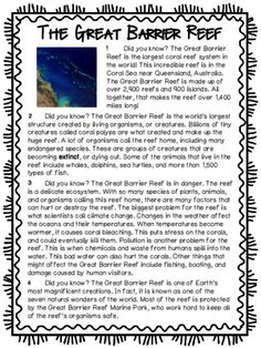 All About the Great Barrier Reef - Geography Packets for Kids from Cute in the Classroom on TeachersNotebook.com (18 pages)