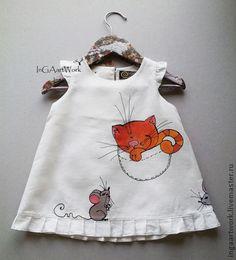 """Одежда для девочек, ручной работы. Ярмарка Мастеров - ручная работа """"Салочки """" Льняное платье.ПРОДАНО.Размер по росту 74 см. Handmade."""