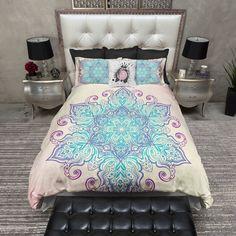 Queen size duvet cover Boho Blue and Purple Mandala Bedding Duvet Bedding, Bed Linens Luxury, Blue Bedding, Bed, Purple Bedding, Luxury Bedding, Mandala Bedding, Beautiful Bedding, Bedding Sets