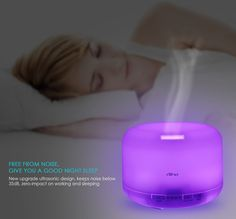 Amazon.com: Aiho Aromatherapy Air Humidifier, 500ml Ultrasonic Essential Oil Diffuser, Cool Mist Whisper Quiet Waterless Auto Shutoff, 4 Timer Set & 7 Color LED Lamps (Bright & Dim)Surprise Present For Festivals: Home & Kitchen