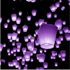10 Purple UFO Sky Fire Eco Lanterns 100% Biodegradable Chinese Sky Lanterns