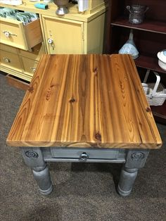 The top of this table is an old cedar door!