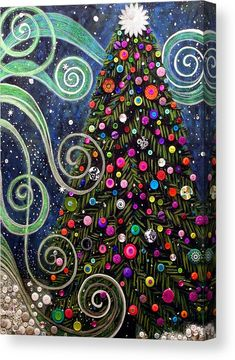 Holiday Canvas Print featuring the painting Button Tree by Monica Furlow Holiday Canvas, Christmas Paintings On Canvas, Navidad Diy, Noel Christmas, Xmas, Painted Christmas Tree, Christmas Tree Painting, Christmas Ornament, Christmas Table Decorations