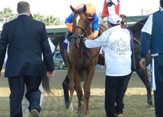 Javier Castellano hugs Zagora after winning the Breeders' Cup Filly and Mare Turf.
