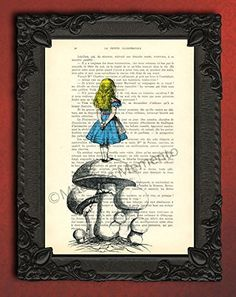 Alice in wonderland on mushroom poster for kids room, gift idea. Each illustration is printed on a beautiful antique book page from a French magazine called La Petite Illustration from around 1910. Please keep in mind that you will not get the exact same page as shown in the image, but you will get a similar antique book page from the same magazine. Each print is unique. You definitely have something to talk about with your friends! PLEASE NOTE: the frame is not included. Any print will…