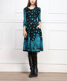 Loving this Black & Teal Dot Drape Neck Dress on #zulily! #zulilyfinds