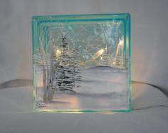 Glass Block Light-Winter Scene-Blue Glass-Night Light Lamp