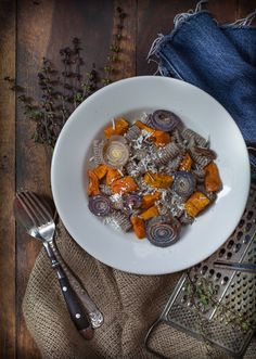 buckwheat pasta with squash and onions