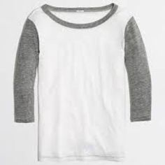 ️NWT J. Crew Colorblock Baseball Tee Final price-New with tags. Heather gray and white. Cotton/poly. Soooo comfy!  Size Large. No trades. Price firm. J. Crew Tops