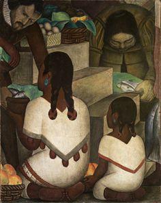 """Diego Rivera. Escena de mercado. 1930. Fresco sobre cemento reforzado en estructura de metal, 49 x 39 1/8"""" (124.46 x 99.38 cm). Smith College Museum of Art, Northampton, Massachusetts. Donación de la señora Dwight W. Morrow (Elizabeth Cutter, generación 1896) SC 1938: 13-1. © 2011 Banco de México Fundación de Museos Diego Rivera y Frida Kahlo, México, D.F./Artists Rights Society (ARS)"""