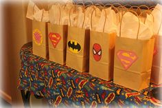 Favor bags at a Superhero birthday party. Avengers Birthday, Batman Birthday, Batman Party, Superhero Birthday Party, 4th Birthday Parties, Birthday Fun, Superhero Party Bags, Superhero Party Favors, Birthday Ideas