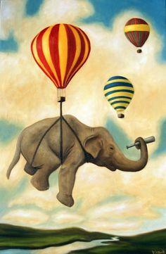 Choose artwork with a sense of adventure. 27 Ways To Create The Perfect Travel-Inspired Nursery Image Elephant, Elephant Love, Elephant Art, Elephant Balloon, Flying Elephant, Air Balloon, Balloons, Circus Nursery, Art Du Cirque