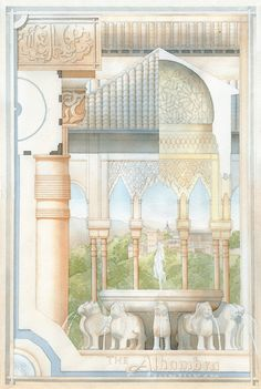 This analytique of the Alhambra in Granada, Spain, is based on the building analytiques rendered by students of the Ecole des Beaux Arts. Completed for [Architectural Rendering in Watercolo. Architecture Concept Drawings, Facade Architecture, Historical Architecture, Landscape Architecture, Architecture Interiors, Privacy Landscaping, Landscaping Ideas, Elevation Drawing, Urban Design Plan