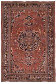 Ferahan Sarouk, 8ft 9in x 12ft 9in, Late 19th Century. Unblemished, virtually full pile condition dramatically sets apart this majestic antique Persian Ferahan Sarouk carpet. Projecting an overall splendor, its superior grade of lanolin-rich wool illumines a diversity of saturated hues, including a rare leaf green. Employing the classic 7-border Persian medallion carpet design, this piece presents an elegant ambiance. Its stately character is enriched by the charm of outstanding Sarouk…