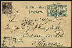 """German Colonies Kiautschou, Michel 6,P1,China 47 - Postal stationery postcard 5 Pfg. green black rose with same additional franking in double postage with Chinese 1/2 cent stamp from """"Tsingtau Kiautschou 20 / 8 01"""" to Medan / Sumatra."""