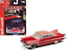 """1958 Plymouth Fury Red (Partially Restored) """"Christine"""" (1983) Movie 1/64 Diecast Model Car by Autoworld Plymouth Fury, Rubber Tires, Diecast Model Cars, Restoration, Red, Movies, Films, Movie Quotes, Movie"""