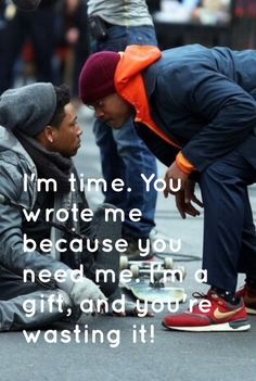 Collateral beauty quote, I'm a gift! Some people never accept the gift of time, wanting things t Time Quotes, Lyric Quotes, Movie Quotes, Book Quotes, Motivational Quotes, Inspirational Quotes, Today Quotes, Qoutes, Belleza Colateral