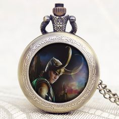 Hot Popular Movie The Avengers Loki Design Old Vintage Bronze Quartz Men Pocket Watch With Chain Necklace for Free Shipping
