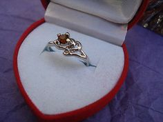 Amber Crystal & Silver Ring-Size 4.5 Heart Gift Boxed GREAT Gift-USA Seller