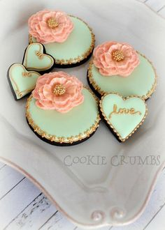 coral and mint cookies | Cookie Connection