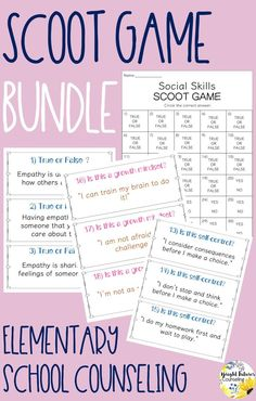 Elementary school counseling games, This scoot game bundle includes 10 scoot games including growth mindset, self-control, tattling vs. reporting, empathy, social skills, and more! #brightfuturescounseling #elementaryschoolcounseling #elementaryschoolcounselor #schoolcounseling #schoolcounselor #counselinggames #charactereducation Elementary School Counselor, School Counseling, Elementary Schools, Social Emotional Learning, Social Skills, Tattling Vs Reporting, Behavior Board, Bullying Prevention, Character Education