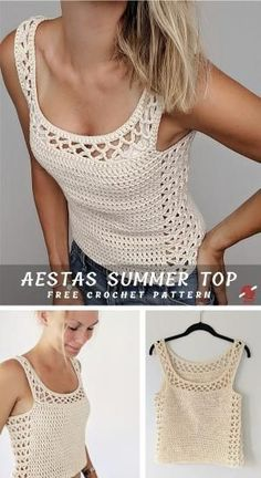 Aestas Crochet Summer Top Aestas Crochet Summer Top,Crochet Chic Fashion Aestas is a Latin word and means 'summer'. This is a beautiful crochet top, great idea for summer. Made in breathable worsted cotton. Blouse Au Crochet, Débardeurs Au Crochet, Beau Crochet, Pull Crochet, Mode Crochet, Crochet Woman, Crochet Poncho, Crochet Stitches, Crochet Patterns